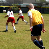 Dr. Parr playing soccer